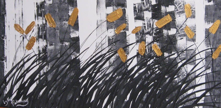 (CreativeWork) Abstract in grey white black and gold   Lynne Pickering by Lynne ( Dorothy Lynne) Pickering. Acrylic Paint. Shop online at Bluethumb.