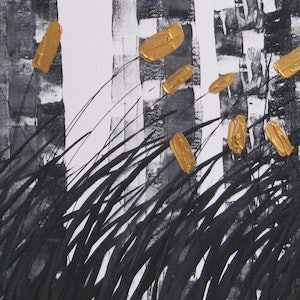(CreativeWork) Abstract in grey white black and gold   Lynne Pickering by Lynne ( Dorothy Lynne) Pickering. arcylic-painting. Shop online at Bluethumb.
