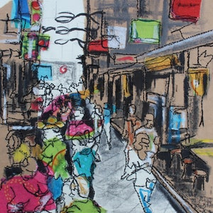 (CreativeWork) Laneway Lunchers by Juliet D Collins. mixed-media. Shop online at Bluethumb.