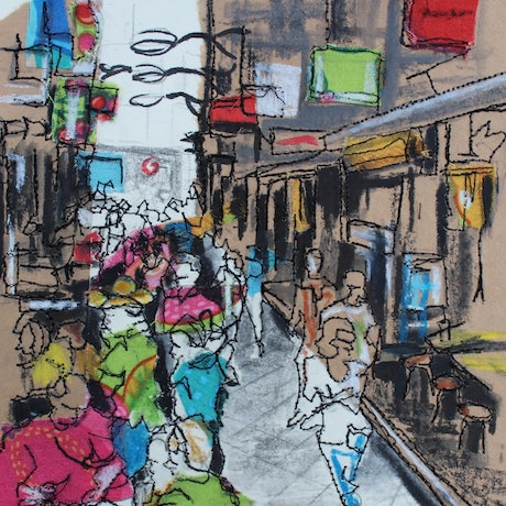 (CreativeWork) Laneway Lunchers by Juliet D Collins. Mixed Media. Shop online at Bluethumb.