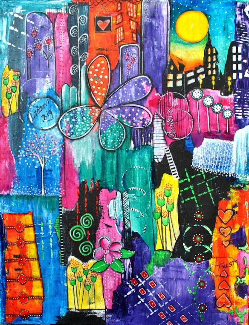 (CreativeWork) Whimsical Nights by Astrid Rosemergy. arcylic-painting. Shop online at Bluethumb.