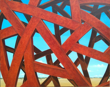 (CreativeWork) A TESSELLATED LANDSCAPE by Linda Joyce. arcylic-painting. Shop online at Bluethumb.
