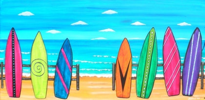 (CreativeWork) Surfboards by Astrid Rosemergy. arcylic-painting. Shop online at Bluethumb.