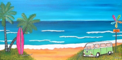 (CreativeWork) Travelling the World - Kombi & Surf Board Painting by Astrid Rosemergy. arcylic-painting. Shop online at Bluethumb.