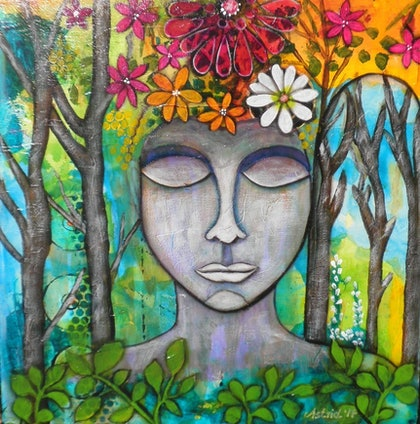 (CreativeWork) Buddha - The enlightened one by Astrid Rosemergy. arcylic-painting. Shop online at Bluethumb.