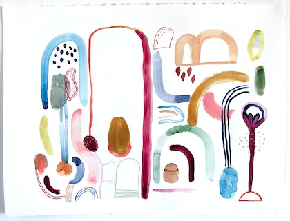 (CreativeWork) The Chocolate Factory by Jess Racklyeft. watercolour. Shop online at Bluethumb.
