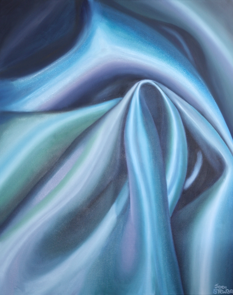 (CreativeWork) Blue and Silver by Jodi Stewart. Oil Paint. Shop online at Bluethumb.