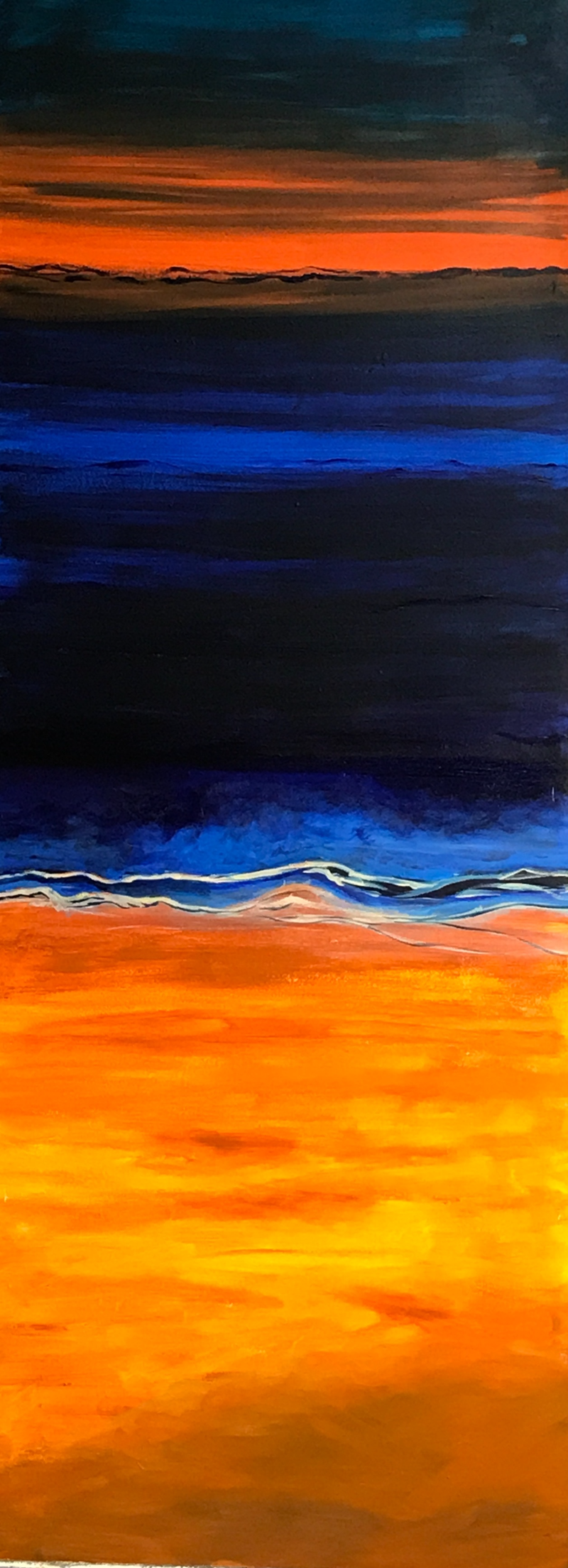 (CreativeWork) January Sunset, Waikiki, Western Australia  by Noela O'Keefe. arcylic-painting. Shop online at Bluethumb.