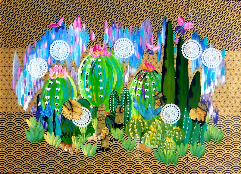 (CreativeWork) Cacti- in frame by Cathy Snow. arcylic-painting. Shop online at Bluethumb.