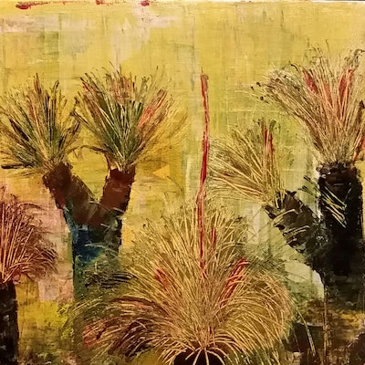 (CreativeWork) Rustic Grass Tree  by Kerry Sandhu. acrylic-painting. Shop online at Bluethumb.