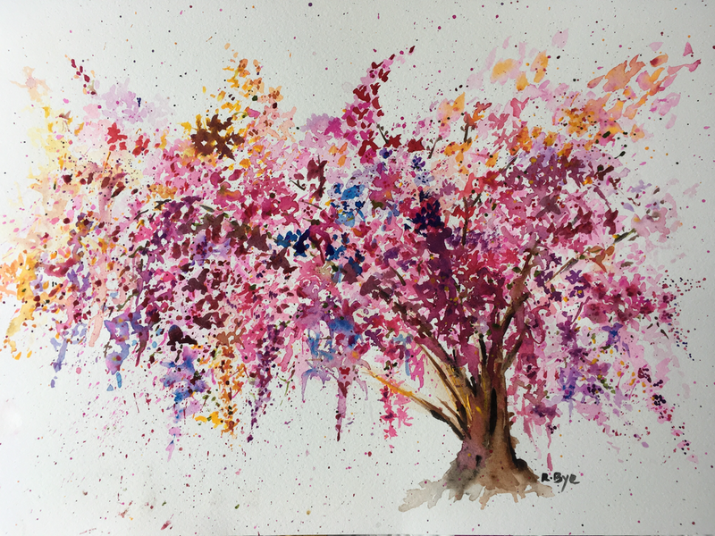 (CreativeWork) Cherry Blossom tree.  by Ruth Bye. watercolour. Shop online at Bluethumb.