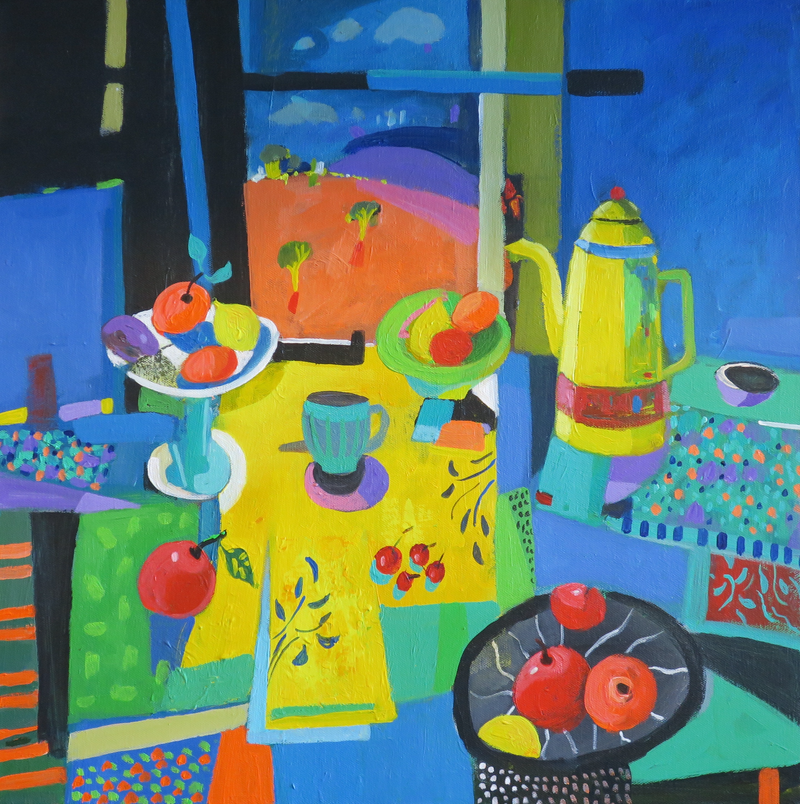 (CreativeWork) Yellow Coffee Pot on Blue by Susan Trudinger. arcylic-painting. Shop online at Bluethumb.