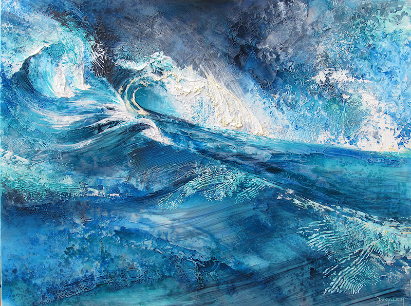 (CreativeWork) Seething ocean by De Gillett. mixed-media. Shop online at Bluethumb.