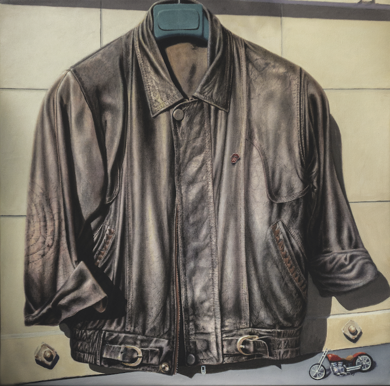 (CreativeWork) Leather jacket by francois olivier. arcylic-painting. Shop online at Bluethumb.