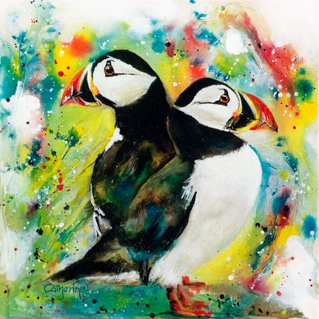 (CreativeWork) Ink Series -A Pair of Puffins by Catherine Clark Dowden. Mixed Media. Shop online at Bluethumb.