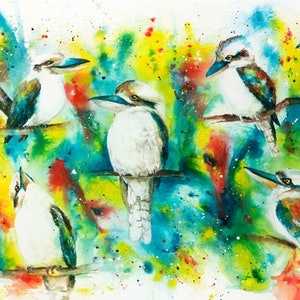 (CreativeWork) Ink Series - Kookaburras II by Catherine Clark Dowden. mixed-media. Shop online at Bluethumb.