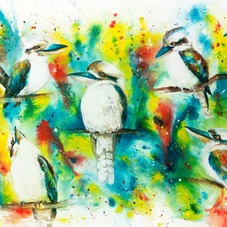 (CreativeWork) Ink Series - Kookaburras II by Catherine Clark Dowden. Mixed Media. Shop online at Bluethumb.