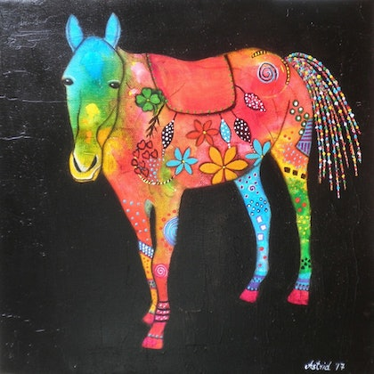 (CreativeWork) Inky Horse by Astrid Rosemergy. arcylic-painting. Shop online at Bluethumb.