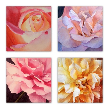(CreativeWork) HEART OF A ROSE set of 4 by JAN LAWNIKANIS. Watercolour Paint. Shop online at Bluethumb.