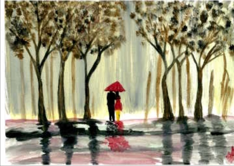 (CreativeWork) Couples' love by Ria Rushin Joseph. arcylic-painting. Shop online at Bluethumb.