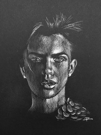 (CreativeWork) Supermodel #2 feat. Ruby Rose by Rosa Fedele. drawing. Shop online at Bluethumb.