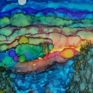 (CreativeWork) Fire In The Valley by Ruth Brunner. other-media. Shop online at Bluethumb.