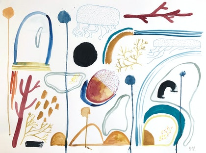 (CreativeWork) The Beach by Jess Racklyeft. watercolour. Shop online at Bluethumb.