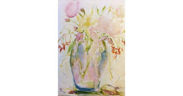 Roses And Fuchsias In Vase On Yupo Watercolour By Margaret Morgan