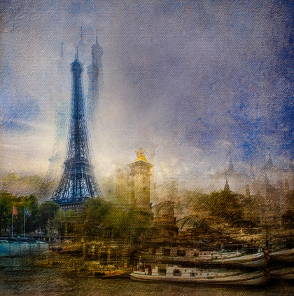 (CreativeWork) Barge Sur Seine by Joseph Remi d'Argent. photograph. Shop online at Bluethumb.