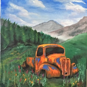(CreativeWork) Rusty old car by Sandy Barbara. arcylic-painting. Shop online at Bluethumb.