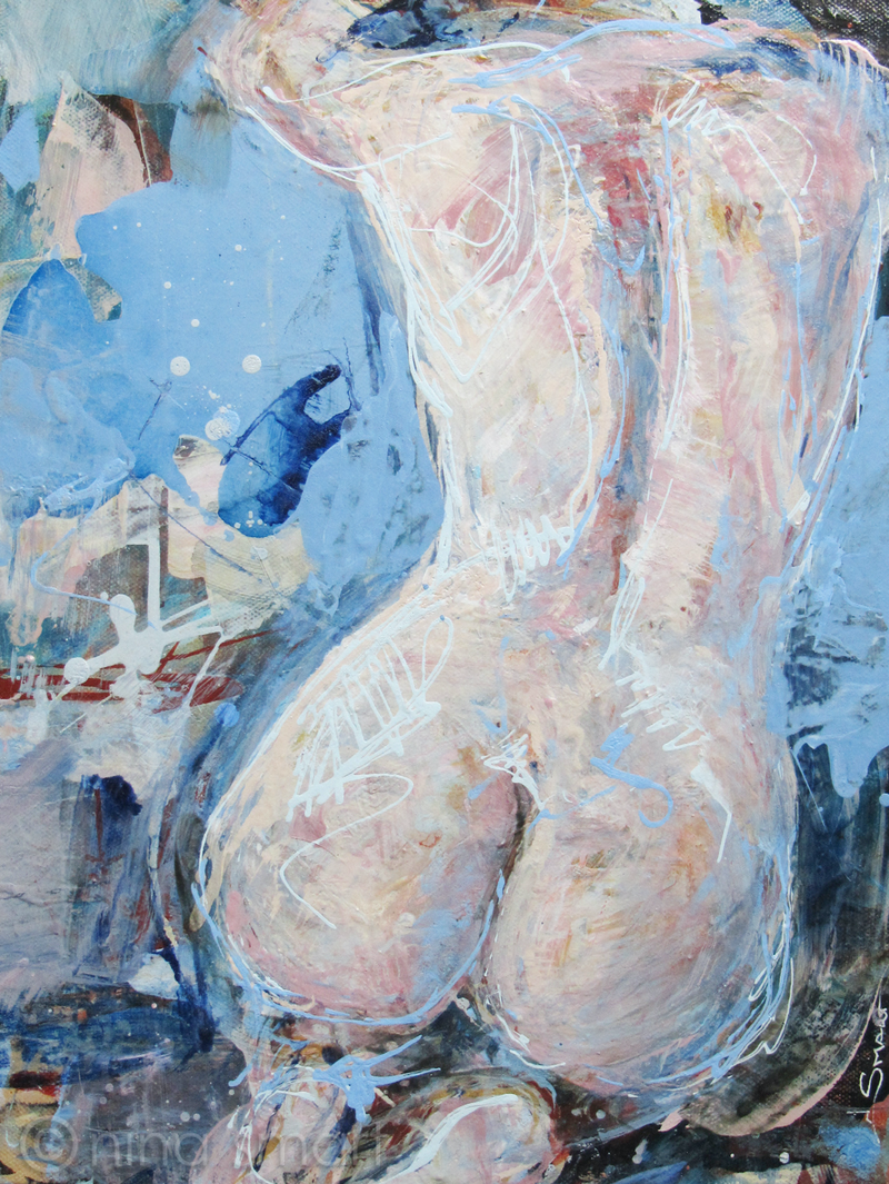 (CreativeWork) Nude in moonlight by Nina Smart. arcylic-painting. Shop online at Bluethumb.