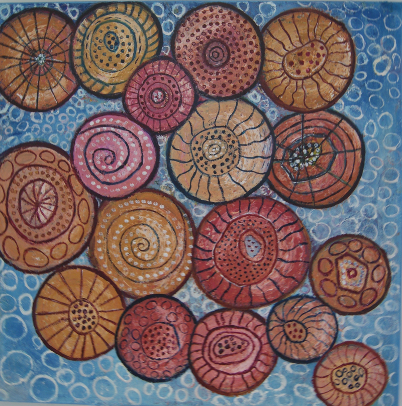 (CreativeWork) Magical Shells by Corinne Young. oil-painting. Shop online at Bluethumb.
