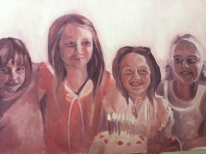 (CreativeWork) The Birthday Party  by Julia Greenham. oil-painting. Shop online at Bluethumb.
