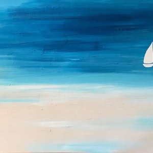 """(CreativeWork) ORIGINAL ABSTRACT ART PAINTING ON STRETCHED CANVAS  """"SOLO SAILING"""" COAST BEACH OCEAN SEA BLUE TURQUOISE SANDY BEIGE WHITE  by Debra Ryan. mixed-media. Shop online at Bluethumb."""