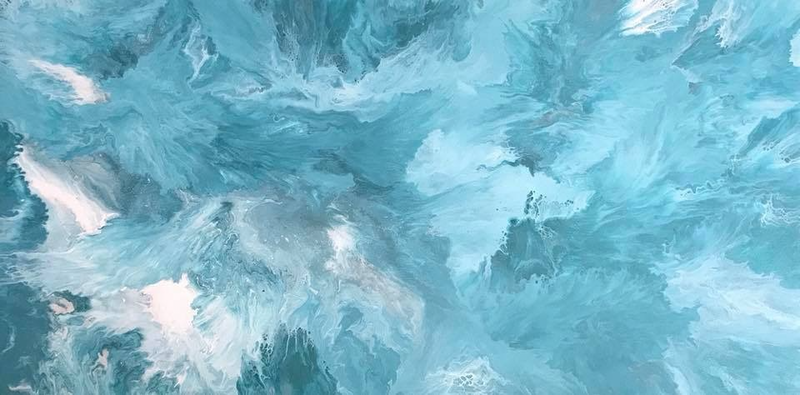 "(CreativeWork) ORIGINAL ABSTRACT ART PAINTING ON STRETCHED CANVAS  ""TEAL DEAL""  METALLIC TEAL MINT GREEN SILVER WHITE by Debra Ryan. mixed-media. Shop online at Bluethumb."
