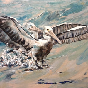 (CreativeWork) Pelicans Landing by Lurlene Murray. arcylic-painting. Shop online at Bluethumb.
