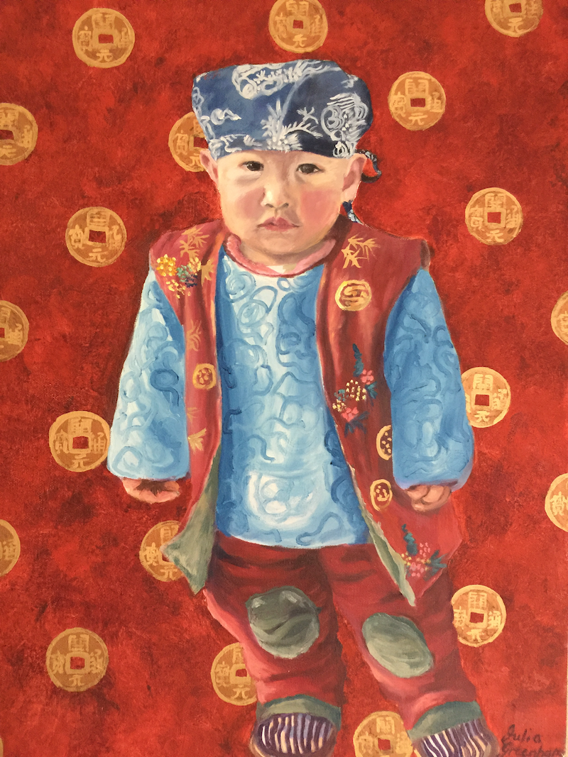 (CreativeWork) The Little Emperor  by Julia Greenham. oil-painting. Shop online at Bluethumb.