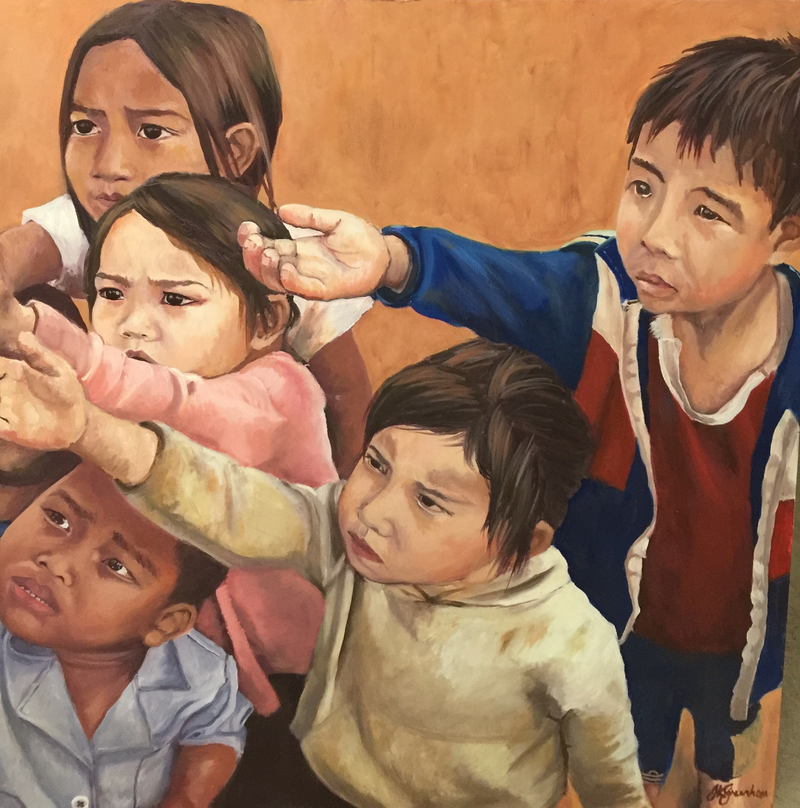 (CreativeWork) Village Children  by Julia Greenham. oil-painting. Shop online at Bluethumb.