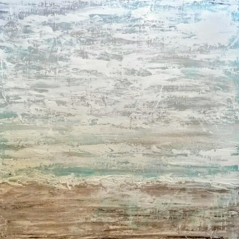(CreativeWork) The Beach (Shabby Chic Seascapes)  by Josephine Ann Pitsiava. mixed-media. Shop online at Bluethumb.