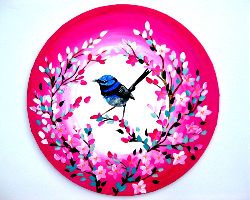 (CreativeWork) Fairy Wren Study by Cathy Jacobs. arcylic-painting. Shop online at Bluethumb.