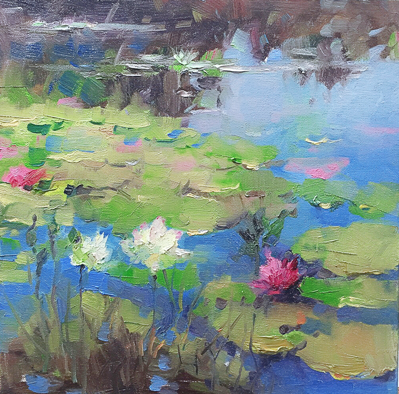 (CreativeWork) Water Lily by LI ZHOU. oil-painting. Shop online at Bluethumb.