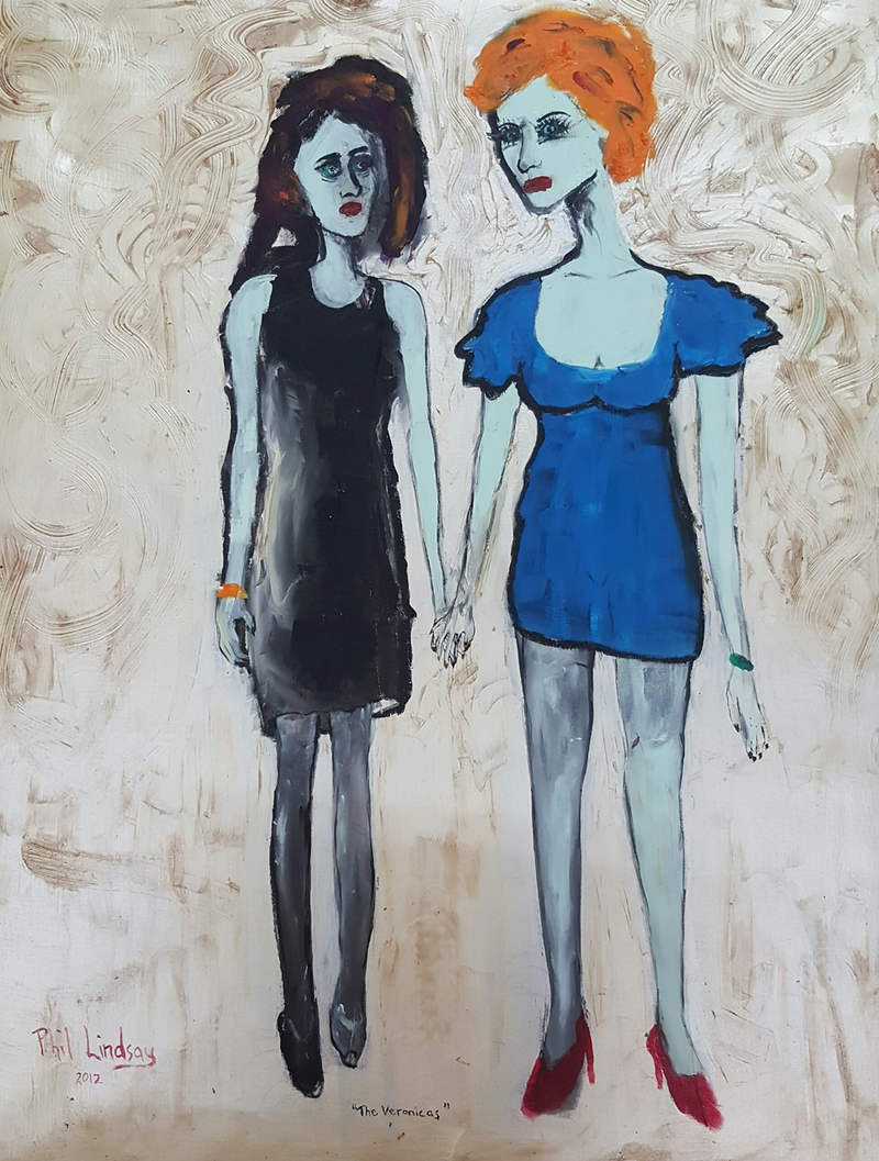 (CreativeWork)  Double Trouble by Philip Lindsay. oil-painting. Shop online at Bluethumb.