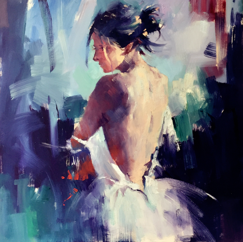 (CreativeWork) A Moment Of Silence by LI ZHOU. oil-painting. Shop online at Bluethumb.