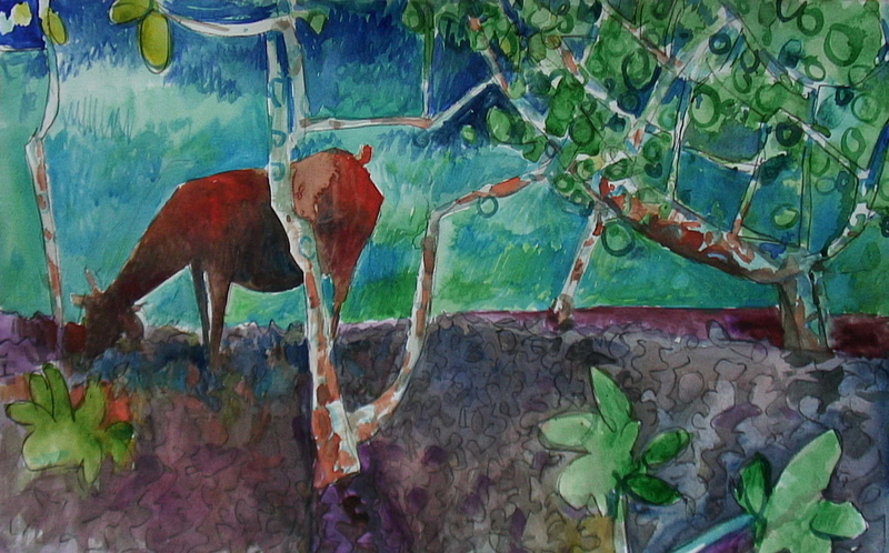 (CreativeWork) Tropical landscape with goat by John Graham. mixed-media. Shop online at Bluethumb.