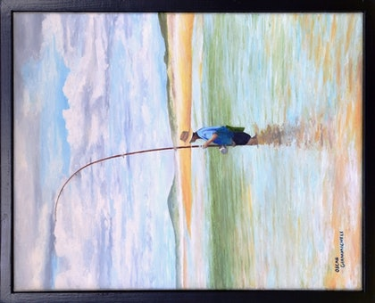(CreativeWork) Towards Coolum by Oscar Giammichele. oil-painting. Shop online at Bluethumb.