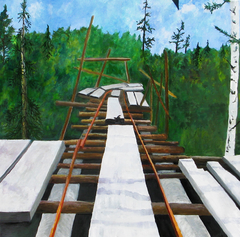 (CreativeWork) old mining trestle by Andrew BARR. oil-painting. Shop online at Bluethumb.