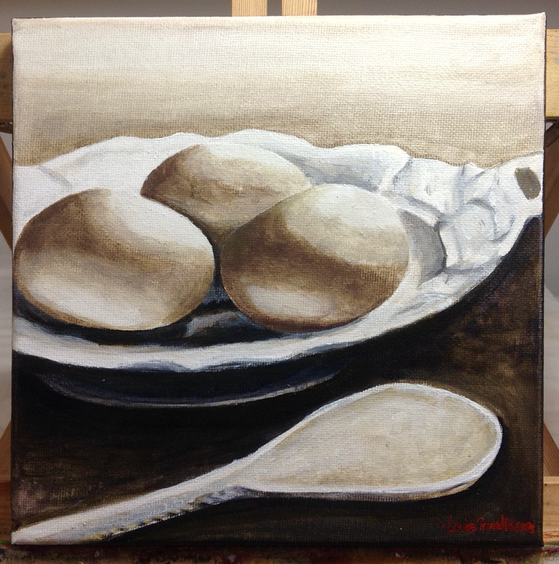 (CreativeWork) Still life with bowl of eggs and spoon by LOUISE GROVE WIECHERS. arcylic-painting. Shop online at Bluethumb.