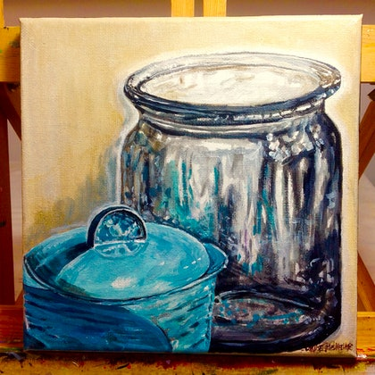 (CreativeWork) Still life with blue pot and  glass jug by LOUISE GROVE WIECHERS. arcylic-painting. Shop online at Bluethumb.