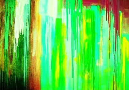 (CreativeWork) Drips of Green by PHIL HODGSON. mixed-media. Shop online at Bluethumb.
