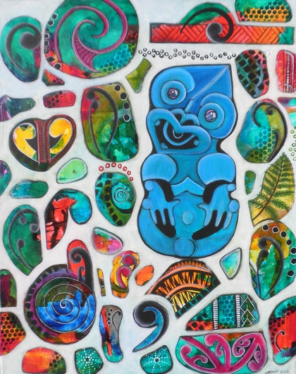 (CreativeWork) Tiki by Astrid Rosemergy. arcylic-painting. Shop online at Bluethumb.
